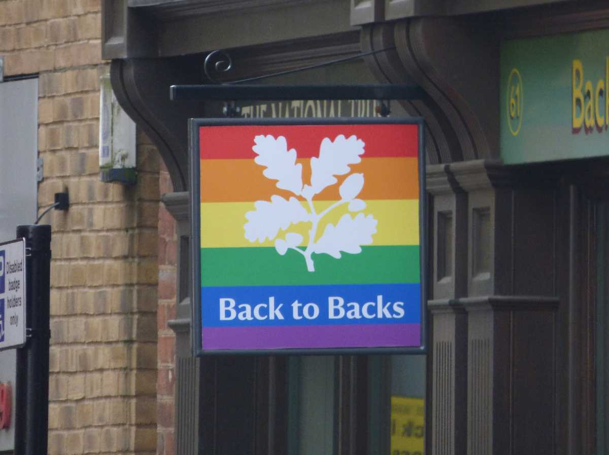 Back to Backs - National Trust Pride sign